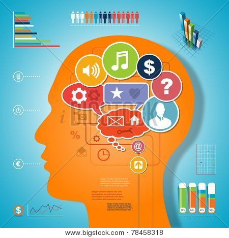 Brain idea infographic media design