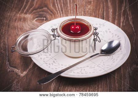 Cherry Panna Cotta In Jar