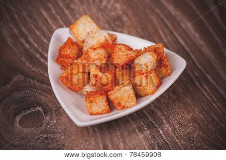 Paprica Croutons Served In Bowl