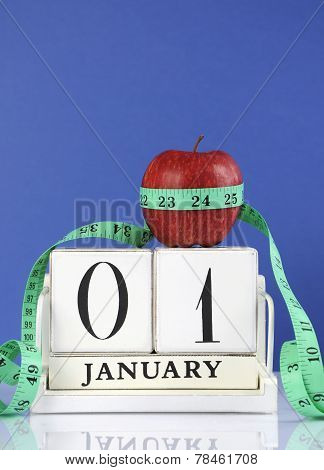 Happy New Year Healthy Slimming Weight Loss Or Good Health Resolution With Red Apple And Measuring T