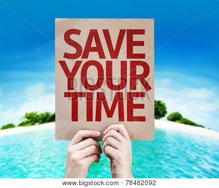 Save Your Time card with a beach background