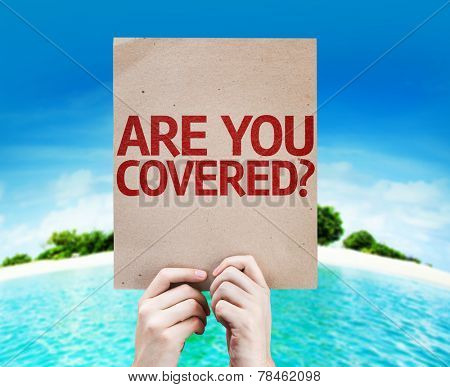 Are You Covered? card with a beach background