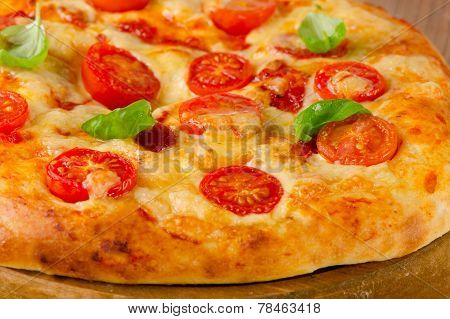 Italian Pizza With Tomatoes, Chees And Basil