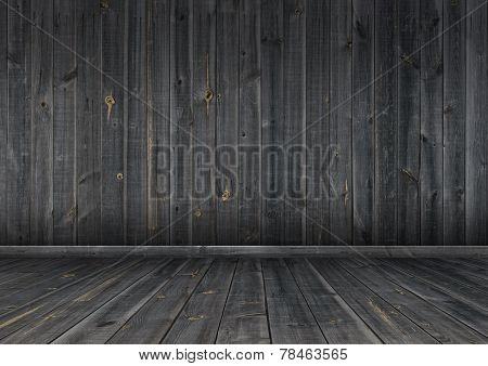 Dark wood wall and floor, background texture
