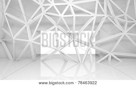 Abstract Room Interior With Chaotic 3D Frame Construction