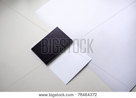 Black and white business cards on the table