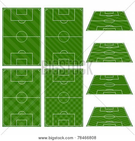 Set Of Football Fields With Diagonal Patterns