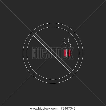 No smoking sign. No smoke icon.