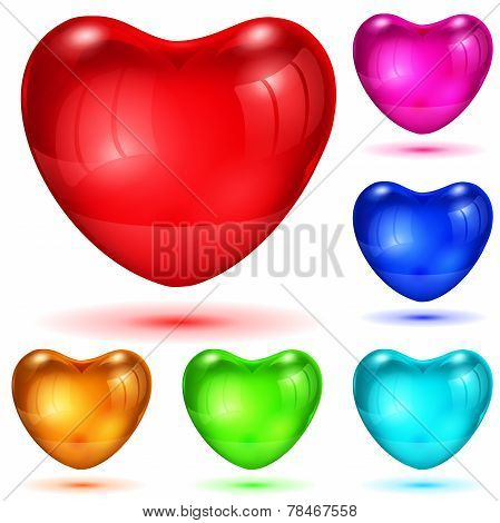 Set Of Opaque Glossy Hearts