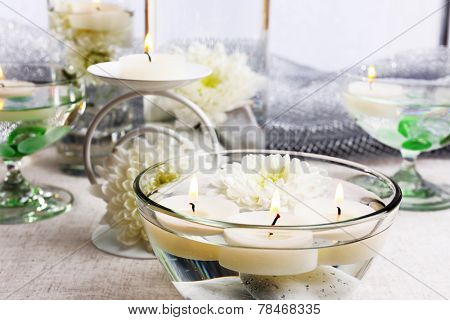 Floating candles in water