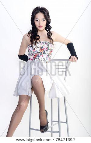 Female model in short skirt