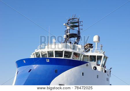 Blue And White Ship Bridge On Inverted Bow