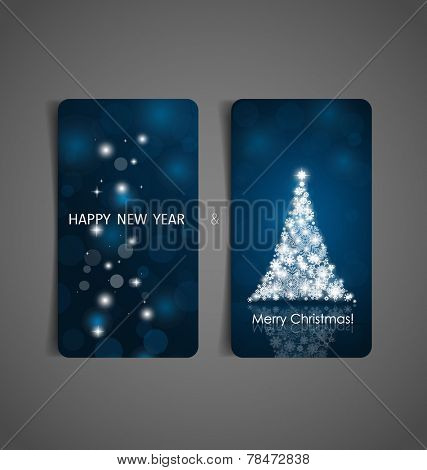 Holiday gift coupons with Christmas tree, vector illustration.