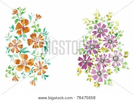 watercolor flowers in different styles