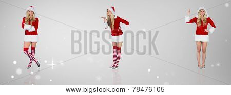 Pretty girl in santa outfit with arms crossed against grey vignette
