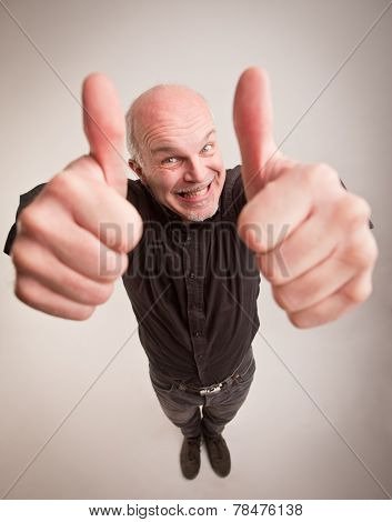 Happy Man And Thumbs Up In Wideangle
