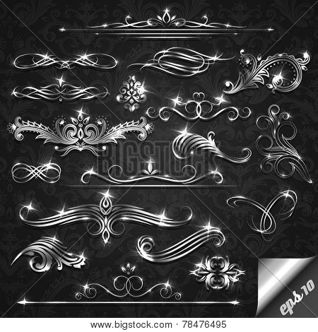 Set of silver ornate design elements - eps10