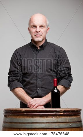 Proud Wine Maker Man With A Bottle