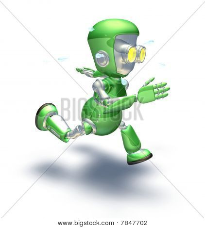 Cute Green Metal Robot Character Running A Sprint