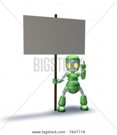 Sweet Robot Mascot Character Pointing Up To Placard Sign