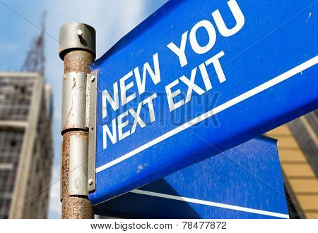 New You Next Exit blue road sign