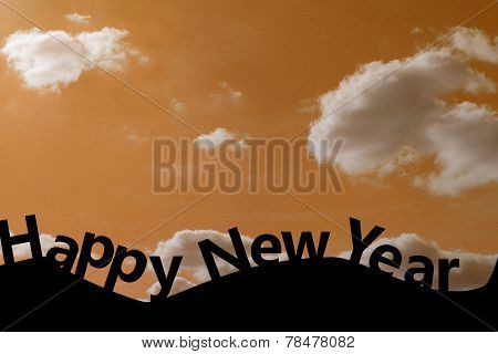 Happy new Year against cloudy sky