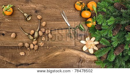 Orange Mandarins, Walnuts And Antique Accessories
