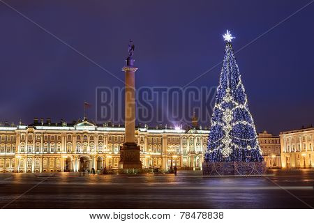 Russia, Saint-petersburg, Christmas Tree Lighting At Night, Near Hermitage Museum.