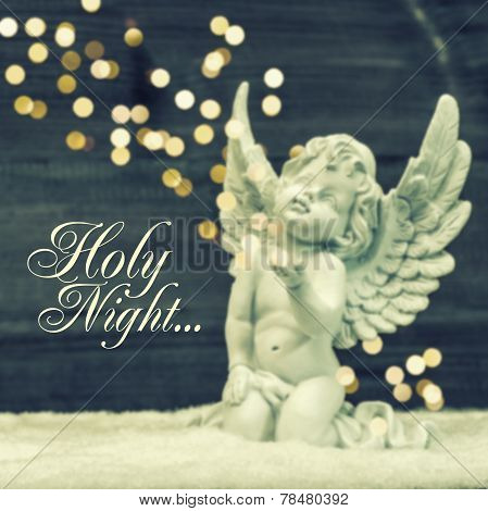 Little Guardian Angel With Shiny Lights. Christmas Decoration