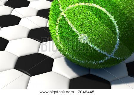Soccer Ball On Grass Field. Or Vice Versa