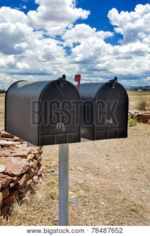 Row Of Old Mailboxes In Arizona State, Usa