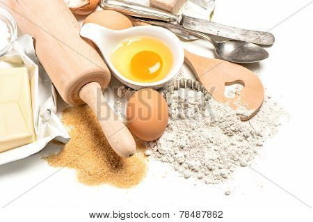 Baking Ingredients. Dough Preparation. Food Background