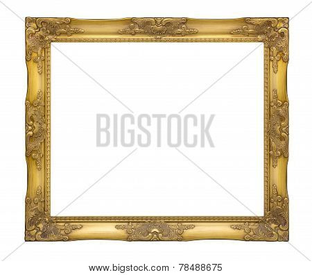 old golden frame. The antique, The classic, The vintage picture frame with clipping path