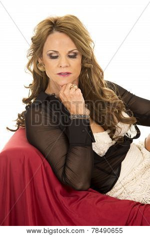 Older Woman In Sheer Outfit Lay On Red Look Down