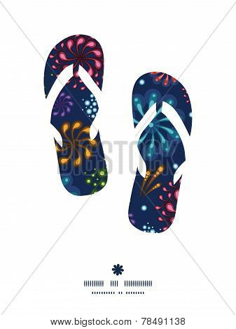 Vector holiday fireworks flip flops silhouettes pattern frame