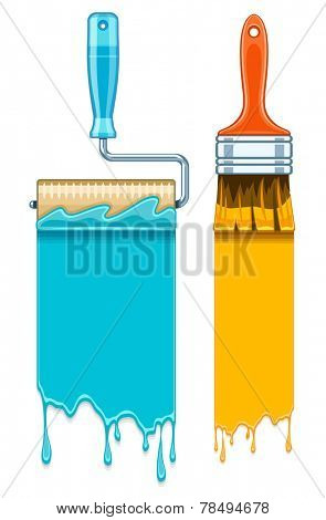 Sale banners with maintenance tools brushes and rollers for paint works. Eps10 vector illustration. Isolated on white background