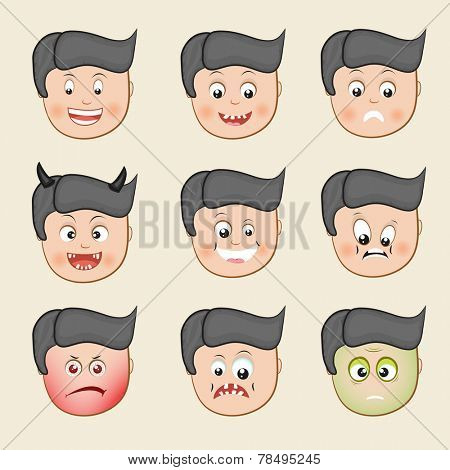 Set of different facial expressions with funny cartoon of a boy on beige background.