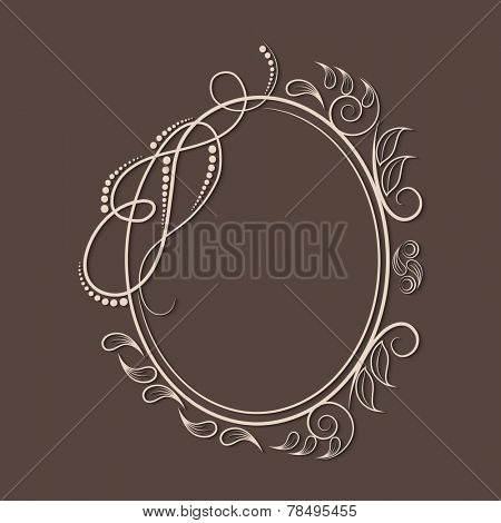 Beautiful floral design decorated frame in oval shape on brown background.