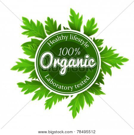 Organic round logo sign label with green leaves. Eps10 vector illustration. Isolated on white background