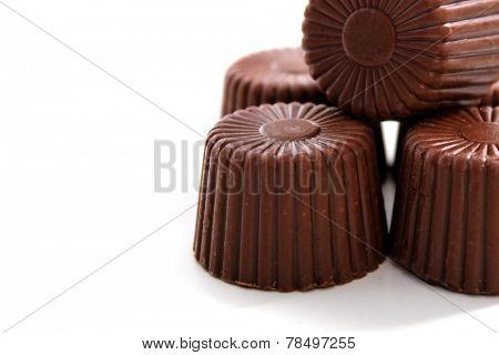 Rounded Chocolate isolated on white background