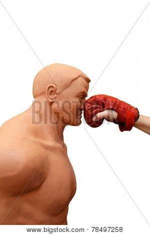 Punching on face, a self defense training isolated on white background