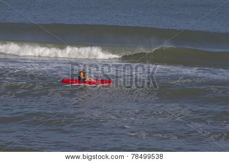 Sea Kayak And Breaking Waves