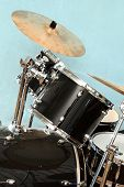 stock photo of drum-set  - Drum and bass set in closeup view - JPG