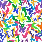 foto of flying-insect  - Beautiful background seamless pattern with flying colorful butterflies over white - JPG