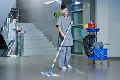 image of supermarket  - Floor care and cleaning services with washing machine in supermarket shop store - JPG
