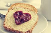 image of breakfast  - jam forming a heart on a toast - JPG