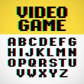 stock photo of pixel  - Video game pixel font with distortion - JPG