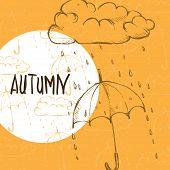 picture of rainy season  - Rainy Season Background With Umbrella And Rain Drops - JPG
