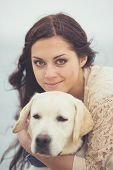 pic of labradors  - Young brunette woman with long straight hair - JPG