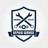 picture of shield  - Vintage style car repair service shield label - JPG